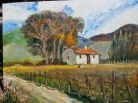 Rancho en la Pradera Cuadro al Óleo