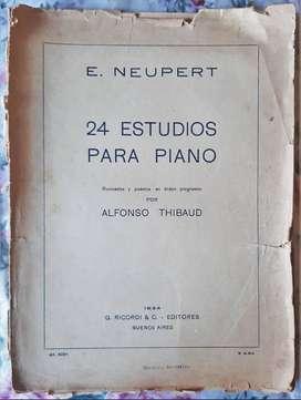E. Neupert 24 Estudios Para Piano - Thibaud Ed. Ricordi 1934