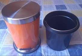 Papelera 5 L Acero Inox Color Naranja de Pedal