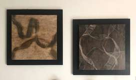 Dos Cuadros Abstractos de 77 Cm X 77 Cm con Base de Madera