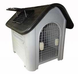 Casa Para Perros Plástico Con Puerta Metal Lavable Calidad