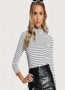 Blusa Sheinside Striped color blanco con negro con envio gratuito