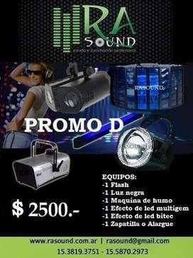 Alquiler de luces audioritmicas led por dia en Rasound