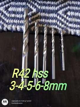 Mechas 3-4-5-6-8mm r42 hss acero rapido