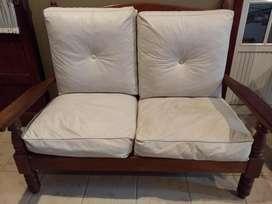 Líquido Juego de sillones de algarrobo con almohadones