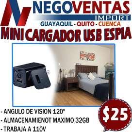 MINI CARGADOR USB ESPIA EN DESCUENTO EXCLUSIVO DE NEGOVENTAS