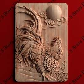 Cuadro tallado en madera alto relieve -Gallo