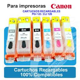 Cartuchos Recargables Pgi125 Cli126 Canon Pixma Mg 5210 6210