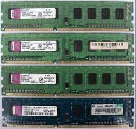 Memoria ram dd3/ddr2/ddr  8gb, 4gb, 2gb, 1gb  desde