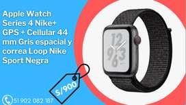 Apple Watch Series 4 Nike+ GPS + Cellular 44 mm Gris espacial y correa Loop Nike Sport Negra
