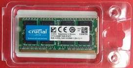 Memoria RAM ddr3 8 gigas Crucial Nueva para portatil