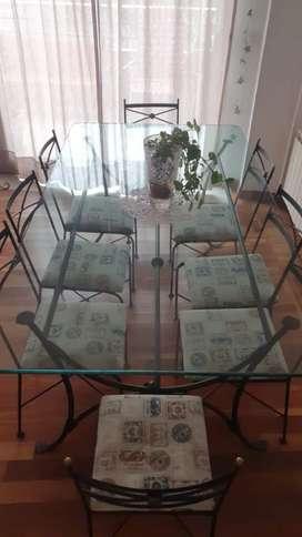 Juego de comedor mesa de vidrio 8 sillas hierro forjado