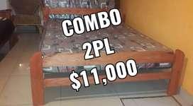 COMBO OFERTA CAMA Y COLCHÓN 2 PLAZAS