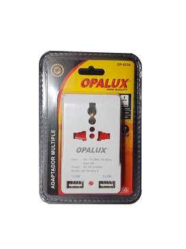 Adaptador Enchufe Multiple Con 2 Puertos Usb Op-823a Opalux