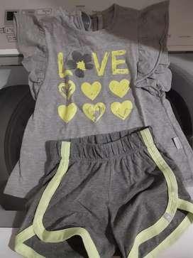Vendo conjunto de short y remera para nena marca mimo
