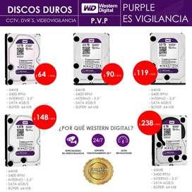 Discos Duros Wester Digital Purple - Purpura para Videovigilancia - DVR Hikvision , Hilook, Dahua - 2 Años de Garantía