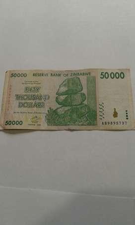 Billete de Zimbabwe 50mil Dollars Antigu