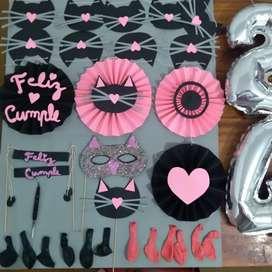 Pack de cumpleaños de gatitos (Hago personalizados)