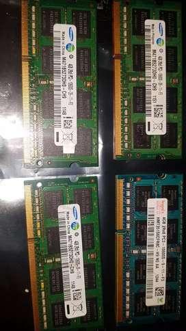 Memorias ddr3 laptop 4gb