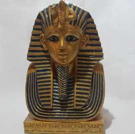 Máscara de faraón egipcio en yeso, 19 cm de alto,  200
