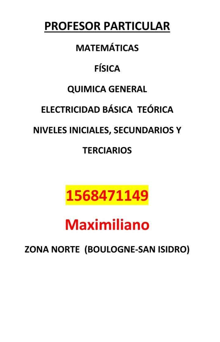 CLASES PARTICULARES MATEMÁTICA FÍSICA Y QUÍMICA GENERAL