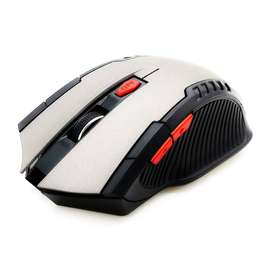 Mouse con 6 Botones Gamer Optico Inalámbrico Rojo - 44444