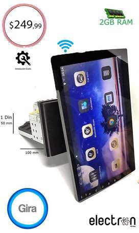 "Radio para carro 10"" Android 9.1 - táctil - 2GB memoria ram - giratoria - Wifi - bt - 1 din universal - inst. gratis"