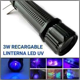 Linterna led 3w Ultravioleta uv recargable 110v luz negr luz negra