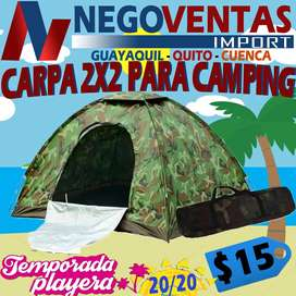 CARPA CAMPING MODELO CAMUFLAJE IMPERMEABLE DE 2X2 CAPACIDAD DE 4 PERSONAS