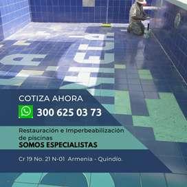 Servicio de reparación de piscinas.