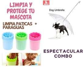 COMBO LIMPIEZA MASCOTAS LIMPIA PATICAS + PARAGUAS
