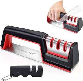 afilador de cuchillos profesional de cocina de 3 etapas – Restaurar y pulir cuchillas rápidamente, mini sacapuntas de bo