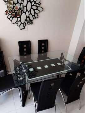 Moderno comedor de vidrio 6 puestos negociable