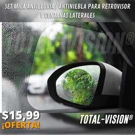 Set Mica Antilluvia/Antiniebla Para Retrovisores y Ventanas Laterales