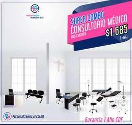 Consultorio Medicina General Imperial-Mobiliario Médico,-Counter,Camilla,Mesa de curaciones,sillas de espera,gradilla