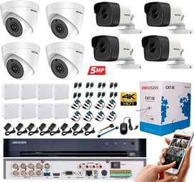 Kit Cámaras Seguridad 4K 5 MP Hikvision DVR 8 CH + 4 Cámaras + Cable