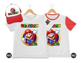camiseta mas gorra para niños Super Mario personalizada
