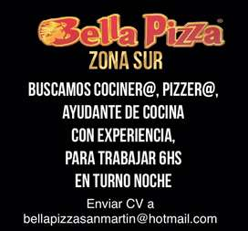 Bella Pizza Zona Sur busca cociner@ pizzer@ ayudante de cocina, con experiancia comprobable