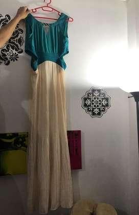 Vestido Vintage Turquesa Y Beige