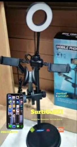 Estacion Selfie con Aro de Luz Led porta microfono y porta celular