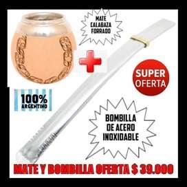 MATE CALABAZA Y BOMBILLA ACERO INOXIDABLE. OFERTA