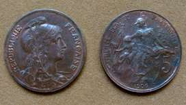 Moneda de 5 céntimos Francia 1906