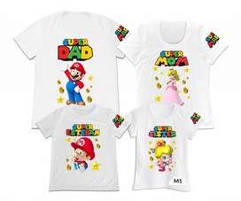 camisetas familiar set4 Super Mario Ideal para fiestas