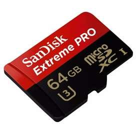 Memoria micro sd 64gb sandisk extreme pro u3 XC I clase 10