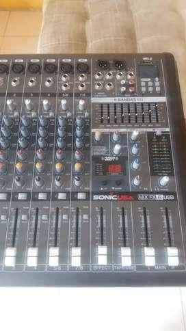 Consola de audio.Sonic 6 canales, usb y efectos.