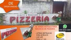 Rótulo Publicitario para Negocio de Pizzería