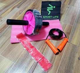 Kit de rueda abdominal, tapete para rodillas, banda elastica + lazo