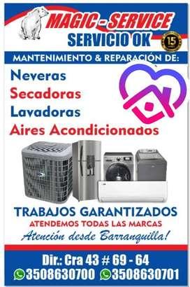 servicio técnico y mantenimiento de lavadoras, neveras, secadoras, aires acondicionado,