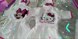 Salidas de baño para niñas estilo minnie y hello kitty