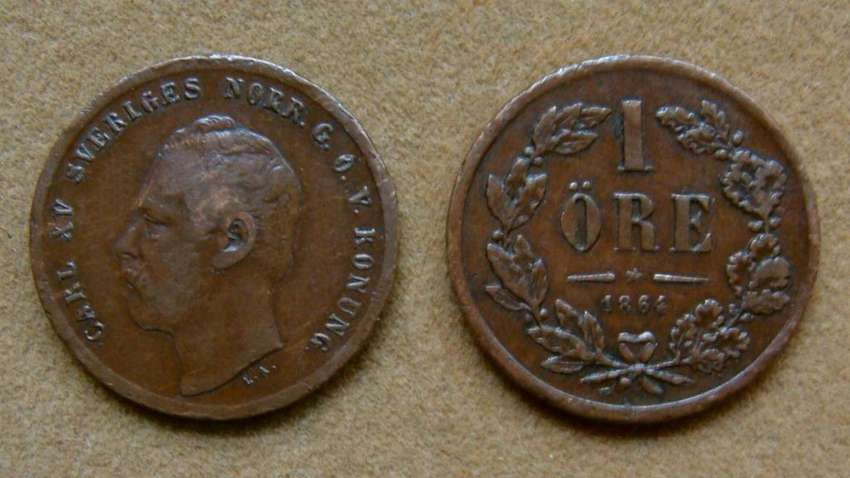 Moneda de 1 öre Suecia 1864 0